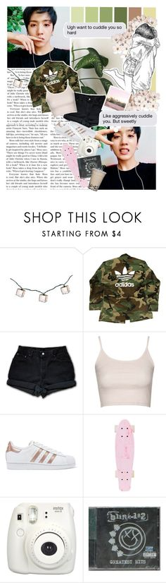 """""""""""I said you ain't gotta leave. My bad I know this ain't usually your scene, but don't worry about it girl just be yourself.""""  // Set #392"""" by sammisolace ❤ liked on Polyvore featuring adidas, Levi's, Topshop, adidas Originals, Fujifilm, Polaroid, universe and pentagon"""