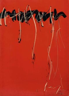 Jean Degottex  Ecriture Noire, Série Rouge/Writing Black, Red Series 1963 gouache and ink on paper