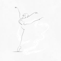 Ballet Dancer in Arabesque. I tried to simplify the dancer and convey all her em… Ballet Dancer in Arabesque. I tried to simplify the dancer and convey all her emotions and movement in a few simple lines; this is one of a collection of similar artworks Ballet Drawings, Dancing Drawings, Art Drawings, Line Tattoos, Body Art Tattoos, Tatoos, Dancer Drawing, Ballet Dancer Tattoo, Ballet Dancers