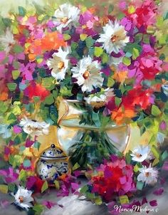 Fruit Punch Daisies and Bougainvillea - Painting Flowers in Florida by Nancy Medina, painting by artist Nancy Medina