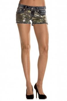 2eb220b320f Sequins Camouflage Front Insert Shorts - Miss Me Camo Shorts