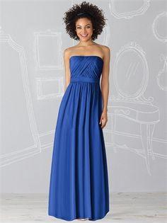 A-Line Blue Strapless Straight Neckline Floor Length Chiffon Bridesmaid Dress BD10075