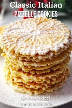 A classic Italian thin and crisp waffle cookie that is flavored with anise and vanilla and so delicious. Pizzelle Cookies, Pizzelle Recipe, Waffle Cookies, Chip Cookies, Cookie Flavors, Cookie Recipes, Dessert Recipes, Delicious Cookies, Delicious Recipes