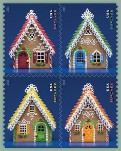 2013 holiday USPS stamps -- Gingerbread Houses