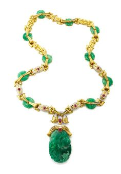 DAVID WEBB Ancient World Collection Couture - Jade Necklace - Carved jade, jade disks, cabochon rubies, brilliant-cut diamonds, hammerd 18K gold, and platinum (=)