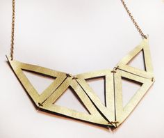 Geometric Mirrored Triangle Recycled Leather Necklace in Gold (short chain)