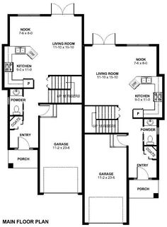 Single story duplex with garage duplex and townhouse for Duplex plans that look like single family