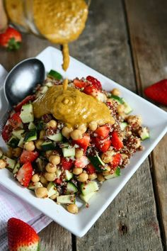 Quinoa, Chickpea and Strawberry Salad with Sundried Tomato Vinaigrette