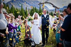 Blue & Yellow Rustic Union at Trappers Lake Lodge on Borrowed & Blue…