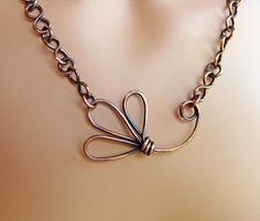 Copper Flower Handmade Chain Necklace~~~