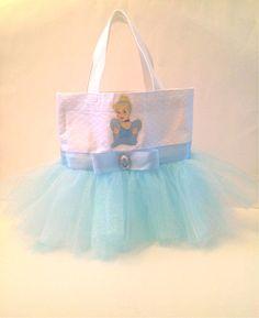 Cinderella Tutu Tote Bag with Light Blue Sparkling Tulle on Etsy, $32.00