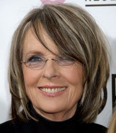 Try Diane Keaton's cool look by going for a duo-toned dye job and shaggy layers starting around your cheekbones.  - GoodHousekeeping.com