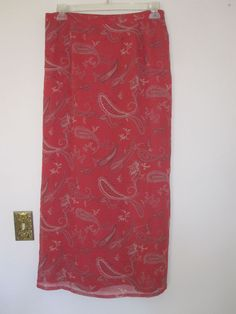 Long Skirt by Style & Co Misses SZ 16 Brick Red w/ Paisley Pattern in Tans #StyleCo #Straight #Clothing #Fashion #Ebay