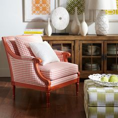Colored furniture. Ethan Allen Fairfax chair in Tangerine.
