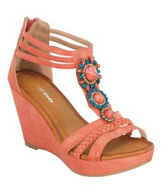 Look what I found on #zulily! Coral Embellished Wedge Sandal #zulilyfinds