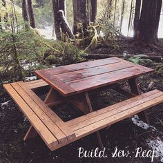 I had to add a leg to the picnic table to make it more stable on the spongy uneven forest ground. Router Woodworking, Woodworking Projects, Sewing Table, Extra Seating, Pyrography, Pallet Projects, Picnic Table, How To Plan, Building