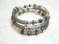 Memory Wire Bracelet, Gray Rubber Cord with Glass Beads