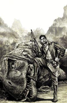 """ryallsfiles: """"Half Past Danger 3 cover by Lee Bermejo """" Dinosaur Time, Dinosaur Art, Fantasy Warrior, Fantasy Art, Pulp Fiction, Science Fiction, Jurassic Park World, Safari, Prehistoric Animals"""