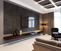 Interior, : Cool Living Room Decoration With Dark Brown Horizontal Wall Panel Pattern Combine With Long Wall Table Plus TV Unit And Cozy Cream Sofa Plus Chic Black Chair Also Black Standing Lamp