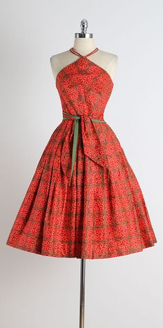 1950s Joan Miller Triangle Halter Polished Cotton Dress | From a collection of rare vintage day dresses at https://www.1stdibs.com/fashion/clothing/day-dresses/