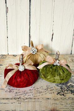 Crushed velvet pumpkins, jewel toned, fall colors