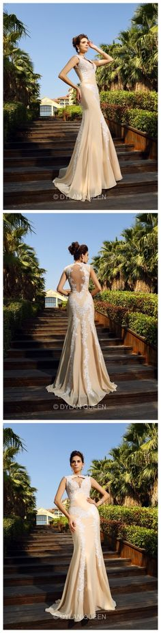 Sheath/Column High Neck Sleeveless Applique Sweep/Brush Train Chiffon evening Dresses