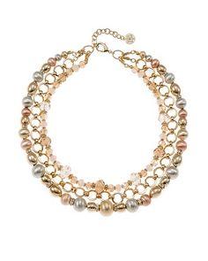 White House | Black Market Mixed Metallic Short Necklace #whbm $68