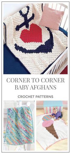 Corner To Corner Baby Afghans, Blanket C2C crochet pattern. corner to corner crochet pattern. C2C crochet blanket. Crochet graph pattern. Afghan crochet pattern. #crochet #crochetpattern #ad #blanket #afghan #diy