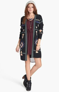 Rubbish® Pattern Long Cardigan (Juniors) available at #Nordstrom