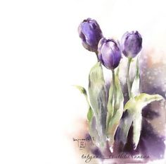Super painting watercolor flowers step by step 44 ideas Watercolor Artists, Watercolor Cards, Watercolor Flowers, Watercolor Paintings, Drawing Flowers, Painting Art, Watercolors, Simple Watercolor, Painting Flowers