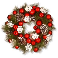 National Tree Company 23 in. Wreath with Red Ornaments and Snowflakes - RAC-15459W24
