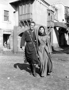 Charlton Heston and Haya Harareet on the set of Ben-Hur