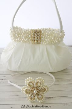 Ivory Pearl Girl's Purse, Ivory Toddler Purse, Girl's Pearls handbag, Flower…