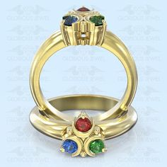 Glorious Custom made Zelda Hyrule Warrior inspired ring with Natural Sapphire, Ruby & Emerald stones / Silver.925 or Gold 14K made to order