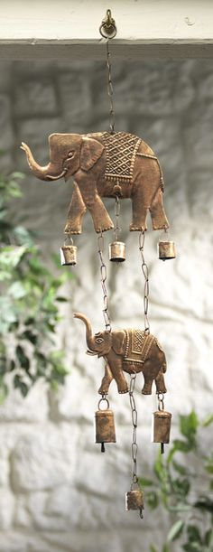 Windchime with 2 elephants and rasai brass effect cowl bells, hand made in India from recycled iron.