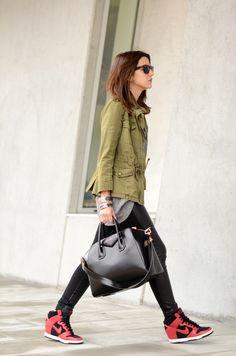 t-shirt: Coosy (au/w 12-13)  sneakers: Nike (au/w 12-13)  bag: Givenchy Antigona bag  jacket: Zara (s/s 12)  necklace: Vanessa Mooney    pants: Suiteblanco (image: lovelypepa)