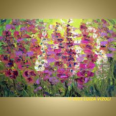 Original Flowers Palette Knife Oil Painting by LUIZAVIZOLI on Etsy, $225.00