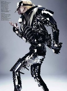 Featuring model Andrej Pejic, this editorial in Dazed and Confused magazine by photographer Anthony Maule and stylist Robbie Spencer looks like fashion from another planet. The shoot features alien armor, vaguely psychedelic superhero costumes and clear plastic exoskeletons.