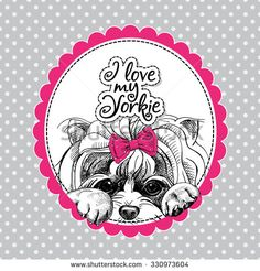 The poster with a portrait of the dog Yorkshire terrier with the bow. Vector illustration. - stock vector