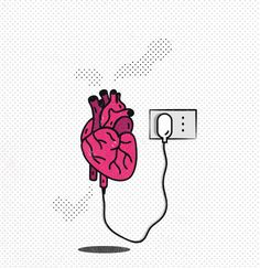 Illustrations Questioning the Place of Technology in Our Lives: İlaria Grima . Simple Doodles, Heart Art, Cute Wallpapers, Art Sketches, Iphone Wallpaper, Pop Art, Illustration Art, Artsy, Creative