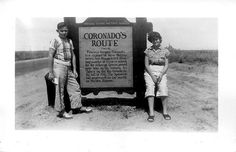 Charley & Kathy poses at a historical marker commemorating the route Coronado took through Texas.    The marker text reads as follows:  Coronado's  Route    1540–42    Francisco Vasques Coronado,  first explorer of New Mexico  weary and disappointed from  long  Coronado Island