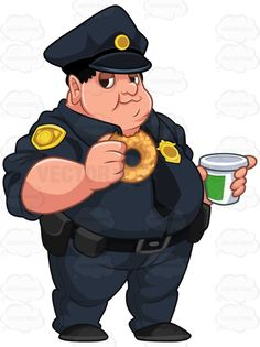 Heavyset Cop Holding A Donut And A Coffee #coffee #cop #donut #fat #law #lawenforcement #man #obese #overweight #police