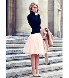 Style Steal with this ! Perfect combinations Hair bob/turtleneck/tulleskirt and boots <3