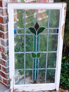 Antique English Wood Framed Leaded 7-Color Stained Glass Window Art Nouveau #2 in Antiques | eBay