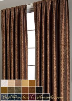 """Contessa Curtain Panels in Copper/Gold with lining and interlining 108""""L"""