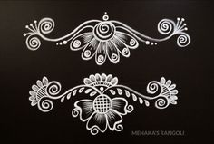 Simple Rangoli Border Designs, Rangoli Simple, Rangoli Designs Latest, Rangoli Designs Flower, Free Hand Rangoli Design, Rangoli Borders, Small Rangoli Design, Rangoli Patterns, Rangoli Designs Diwali