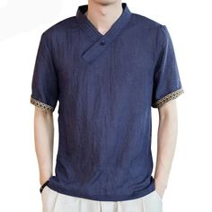 New Linen Men thin Shirt Chinese style short sleeve Linen Solid tops Retro plate buttons Men Loose Shirt plus size Chinese Collar Shirt, Mens Linen Outfits, Collar Shirts, Men Shirts, Loose Shirts, Mens Clothing Styles, Chinese Style, Sleeves, Mens Tops