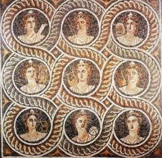 The Nine Muses Roman mosaic found in Kos, 1st century BC Great Master's Palace, Rhodas