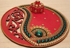 Navaratri pujas and homas invoke the ultimate primordial force Goddess Adi Shakti Arti Thali Decoration, Diwali Decoration Items, Thali Decoration Ideas, Desi Wedding Decor, Wedding Art, Rangoli Patterns, Rangoli Designs, Art N Craft, Craft Stick Crafts