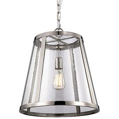 Transparent lighting that hides nothing. The Feiss Harrow Pendant takes a cone-shaped shade with a clear seedy glass barrier and a solid steel frame to lend wide space illumination. The exposed bulb within is highlighted by the optical quality of the bubbles in the glass, making the diffusion of light unique. Vintage filament bulb recommended for aesthetic enhancement. Suspends from square linked chain and rounded canopy.